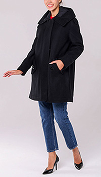 Черное пальто Emporio Armani с капюшоном, фото