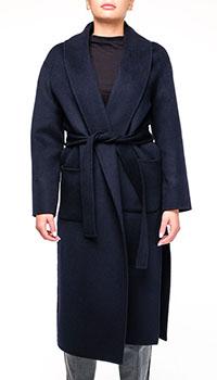 Длинное пальто Ermanno Scervino темно-синего цвета, фото