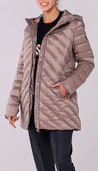 Бежевая куртка Ea7 Emporio Armani со стежкой, фото