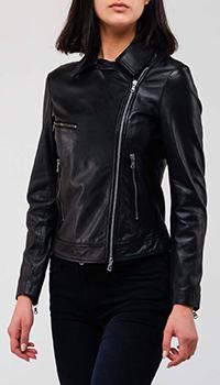 Черная куртка из экокожи Tosca Blu приталенного силуэта, фото