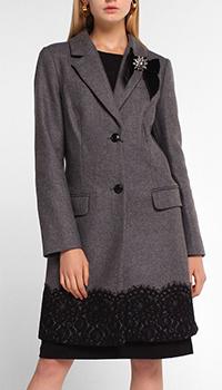 Серое пальто Twin-Set с декором-кружевом, фото