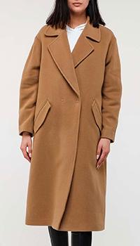 Коричневое пальто Twin-Set с широким воротником, фото