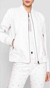 Белая куртка из эко-кожи Twin-Set с крокодиловым принтом, фото