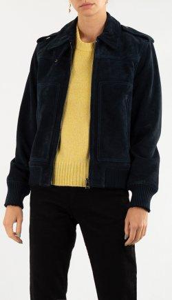 Кожаная куртка Zadig & Voltaire темно-синего цвета, фото