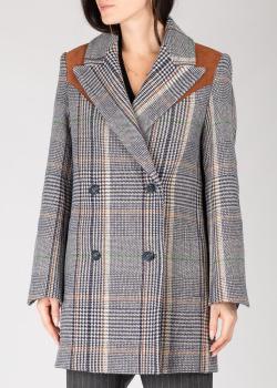 Клетчатое пальто Zadig & Voltaire с замшевой вставкой на плечах, фото
