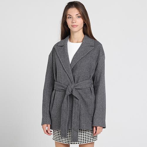 Короткое пальто Kristina Mamedova из шерсти серого цвета, фото