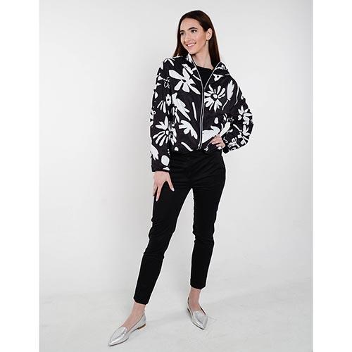 Ультралегкая куртка-ветровка Iceberg черного цвета с флористическим принтом, фото