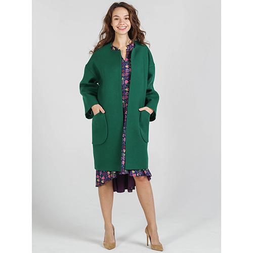 Шерстяное пальто Shako зеленого цвета с накладными карманами, фото