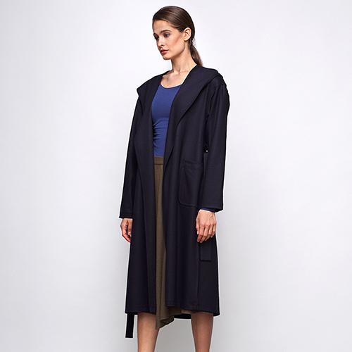 Синее шерстяное пальто Shako с накладными карманами и капюшоном, фото