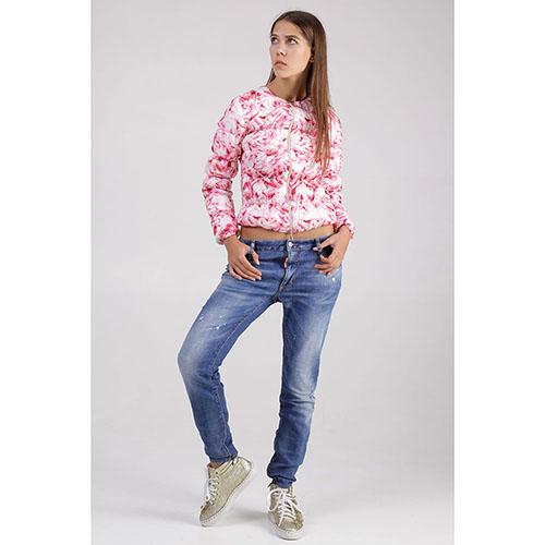 Короткая куртка +MINI с цветочным принтом розового цвета, фото