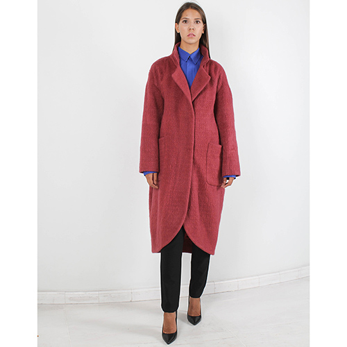 Пальто-оверсайз Forever Unique бордового цвета, фото