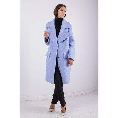 Пальто Ledition голубого цвета с широким воротником, фото