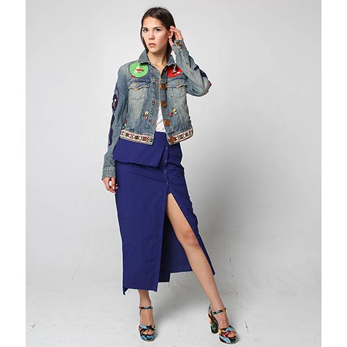 Голубая джинсовая куртка Voyage с разноцветной вышивкой, фото