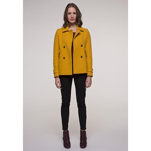 Пальто двубортное Trench & Coat желтого цвета, фото