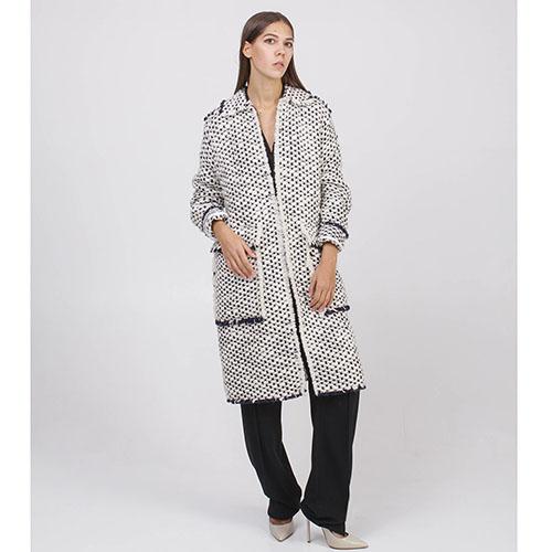 Буклированное пальто Rochas черно-белое, фото