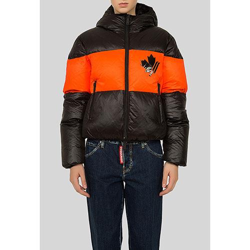 Черная куртка Dsquared2 с оранжевым декором, фото