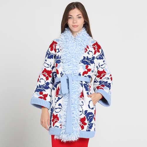 Вязаное пальто Nit.ka до колен с флористическим узором, фото