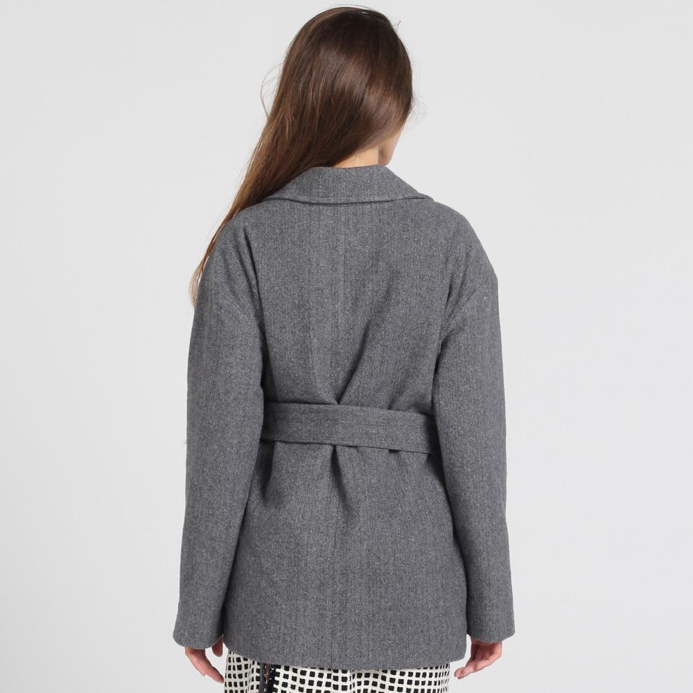 Короткое пальто Kristina Mamedova из шерсти серого цвета