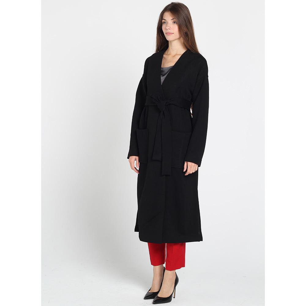 Черное пальто Kristina Mamedova с поясом на запах
