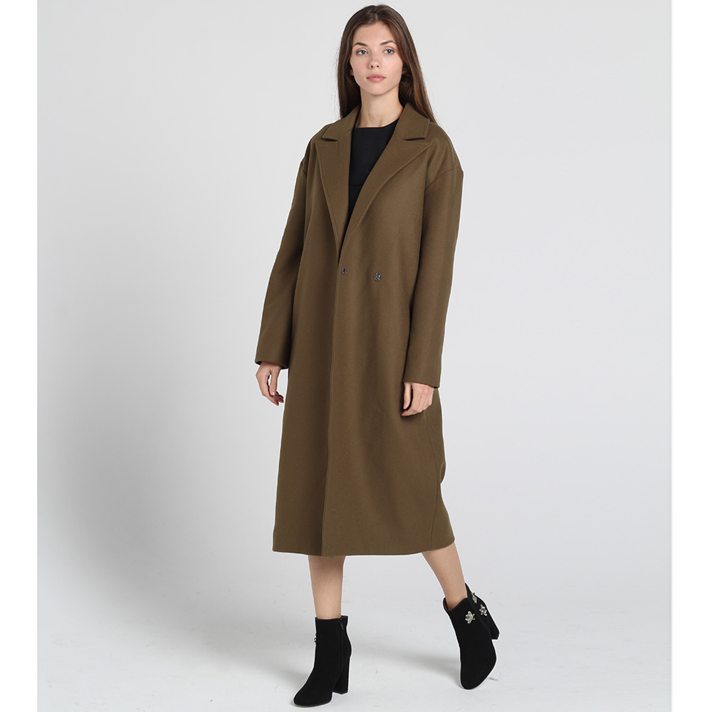 Пальто Kristina Mamedova цвета хаки с поясом