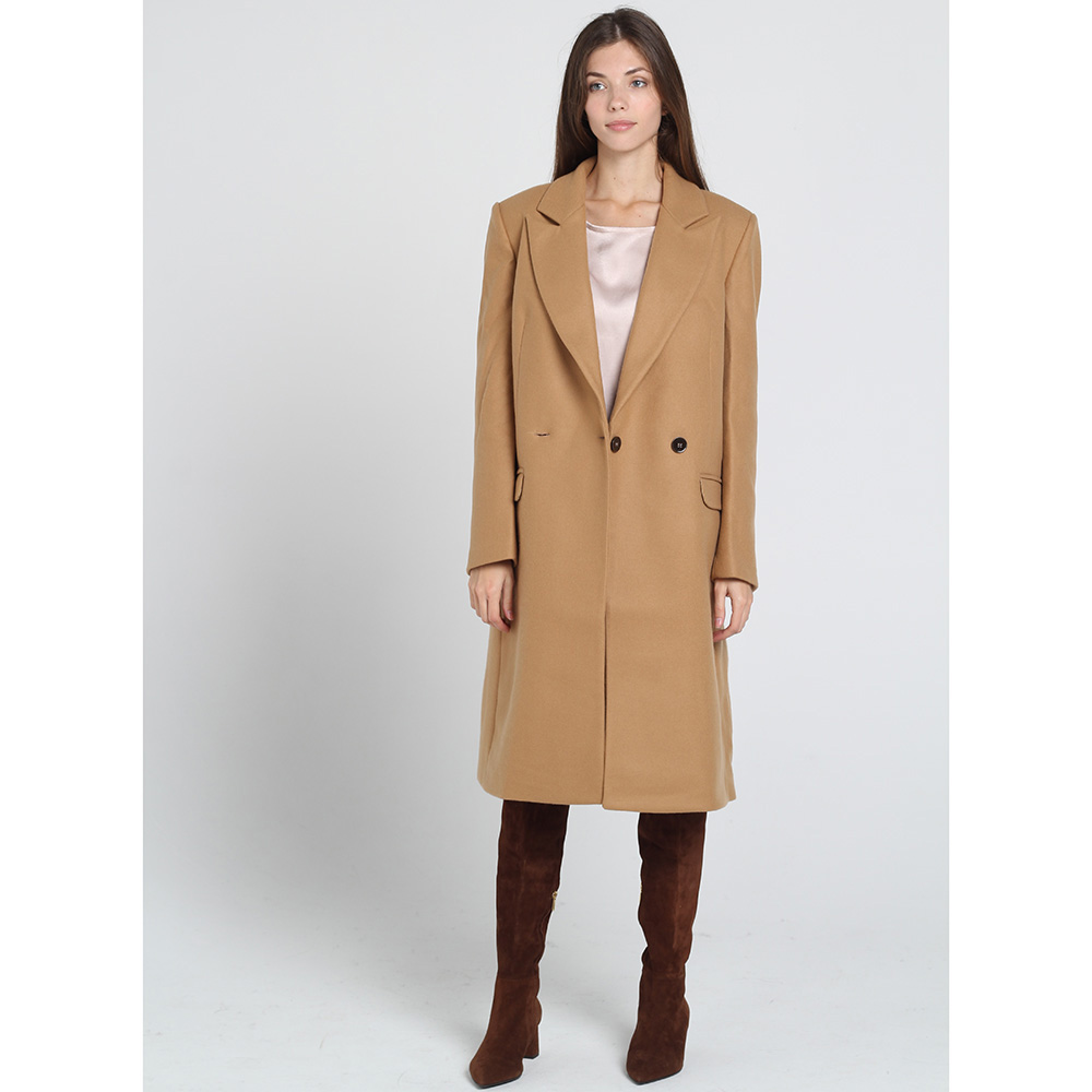 Двубортное пальто прямого кроя Kristina Mamedova коричневого цвета