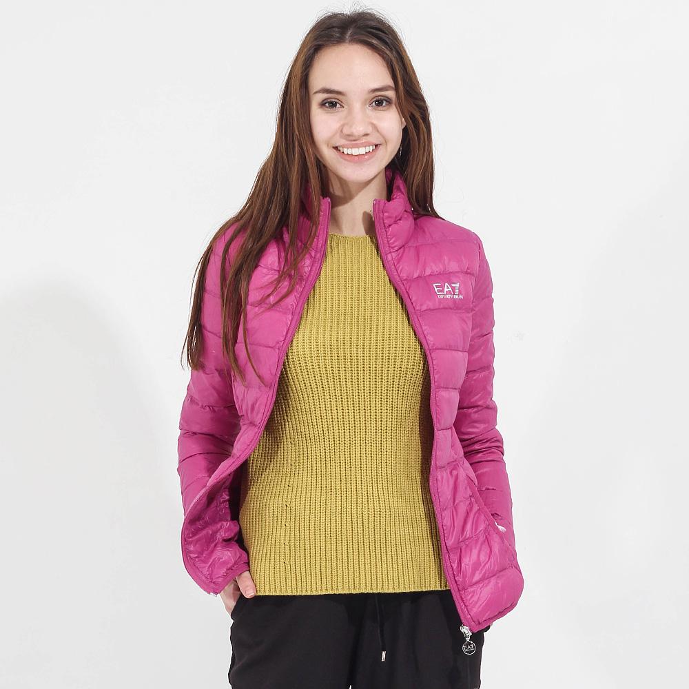 Легкая пуховая куртка Ea7 Emporio Armani розового цвета