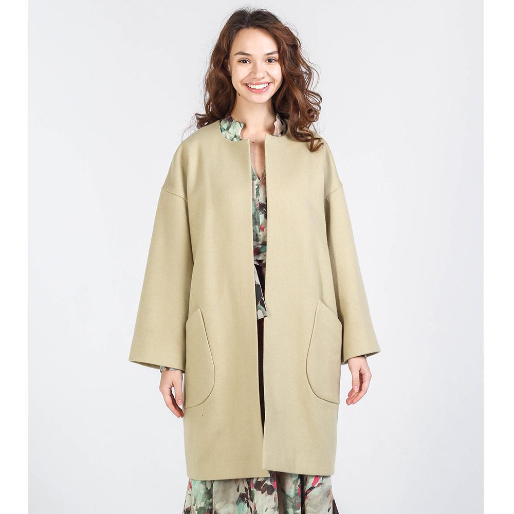 Пальто из шерсти Shako фисташкового цвета с накладными карманами