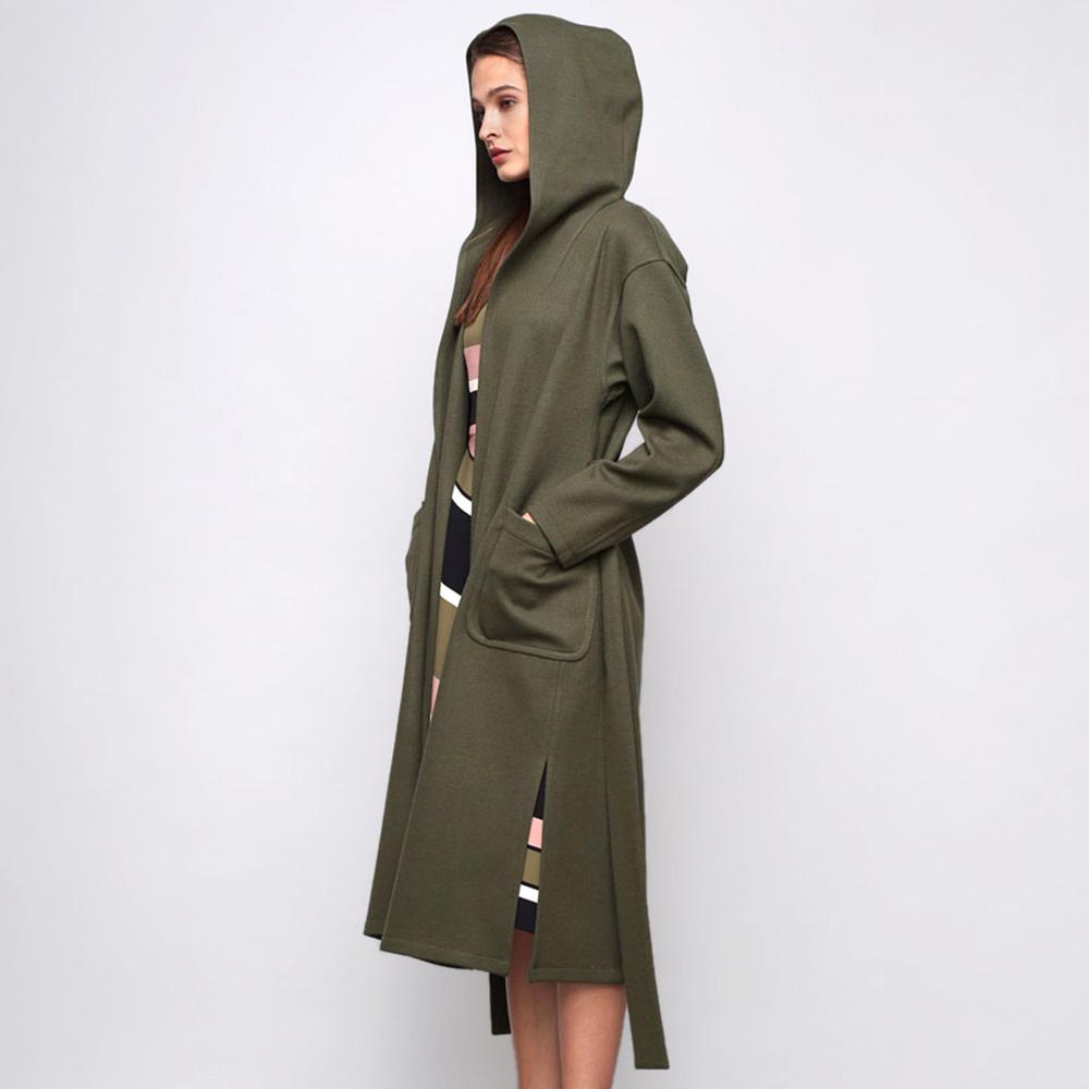 Пальто с капюшоном Shako из шерсти цвета хаки