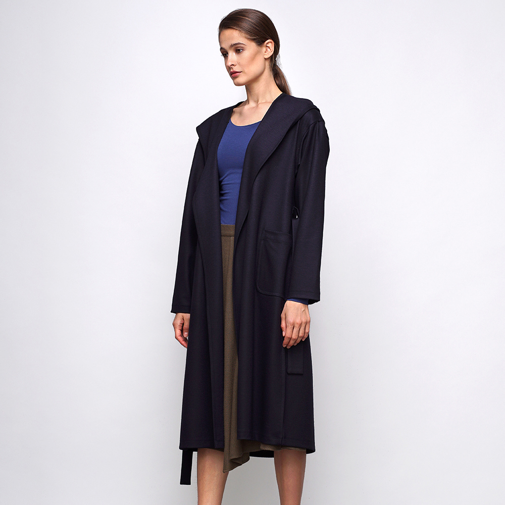 Синее шерстяное пальто Shako с накладными карманами и капюшоном