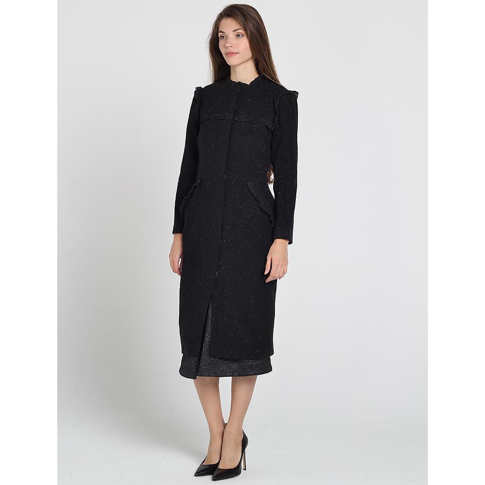 Черное приталенное пальто Kristina Mamedova с отделкой-рюшами