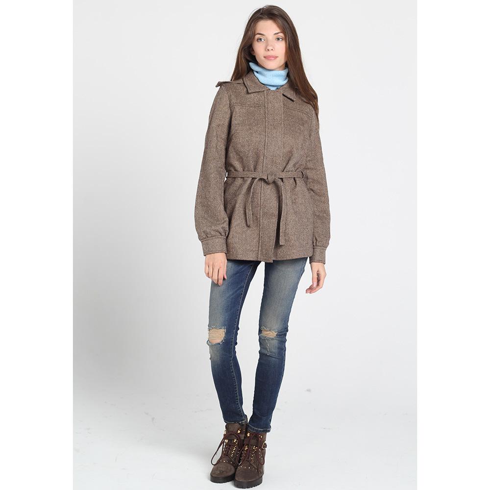 Серое пальто Kristina Mamedova из шерсти с поясом