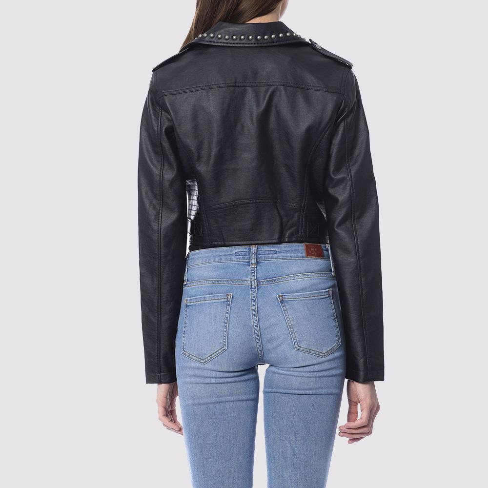 Черная куртка-косуха Silvian Heach с декором на воротнике