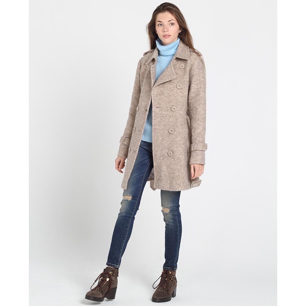 Короткое двубортное пальто Kristina Mamedova бежевого цвета
