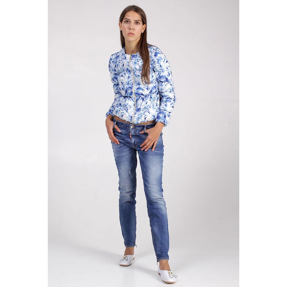 Короткая куртка +MINI с цветочным принтом голубого цвета
