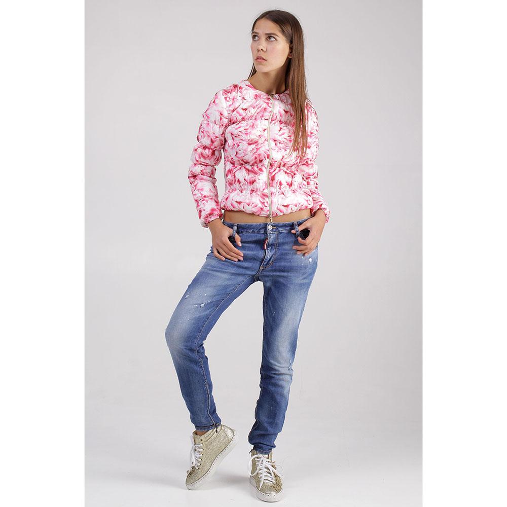 Короткая куртка +MINI с цветочным принтом розового цвета