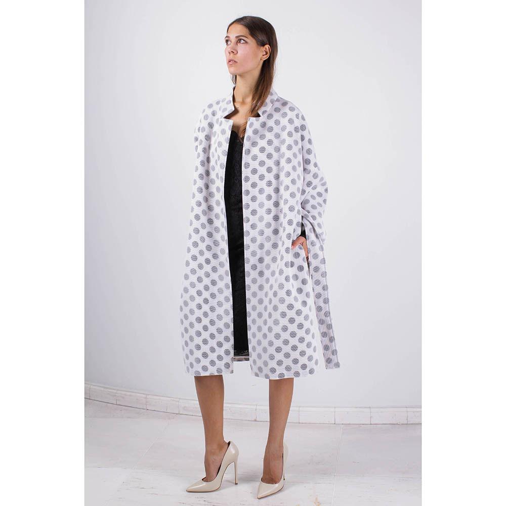 Пальто FOREVER UNIQUE белое в серый горох