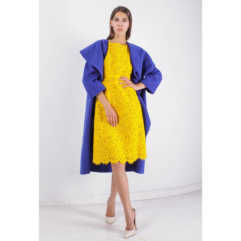 Пальто Plein SUD синего цвета с объемным воротником