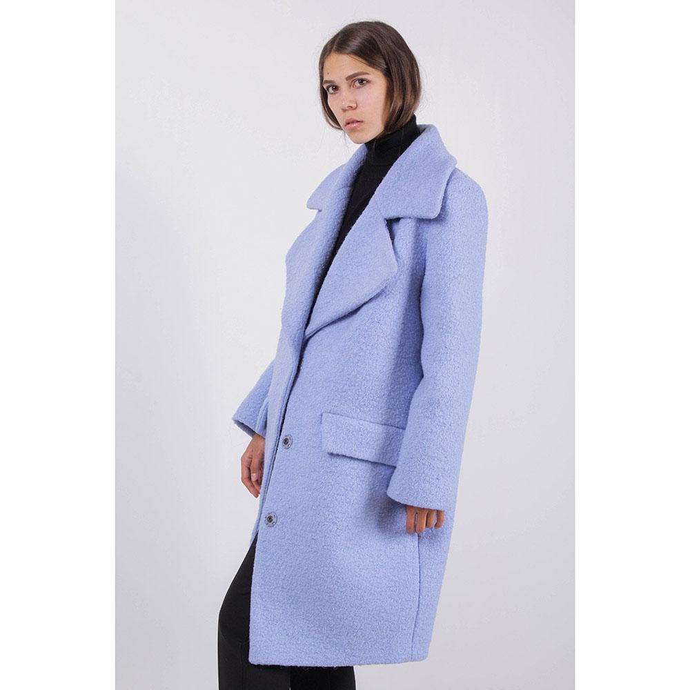 Пальто Ledition голубого цвета с широким воротником