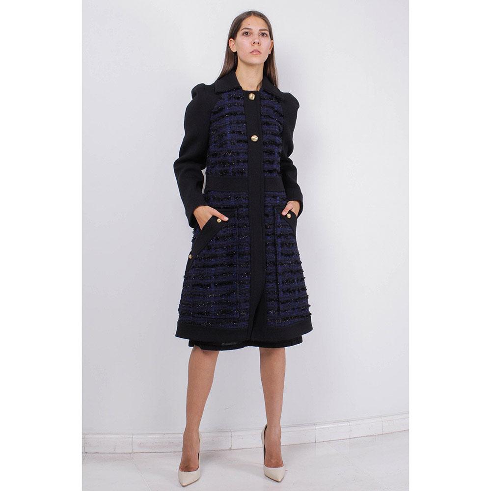 Пальто Blumarine синего цвета с юбкой-трапецией