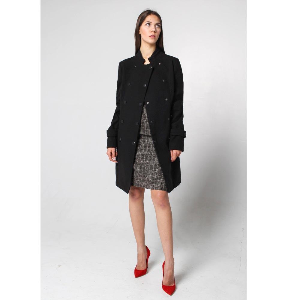 Двубортное пальто Fornarina черного цвета