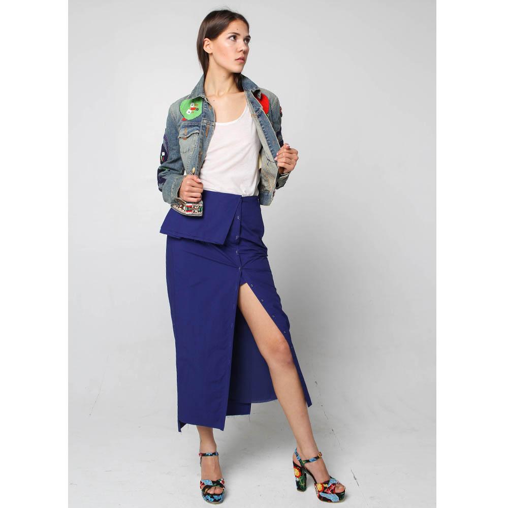 Голубая джинсовая куртка Voyage с разноцветной вышивкой