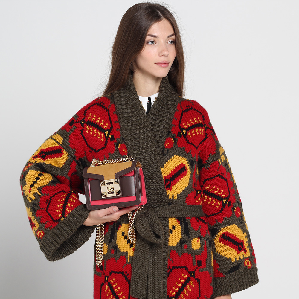 Длинное вязаное пальто Nit.ka цвета хаки с яркими узорами