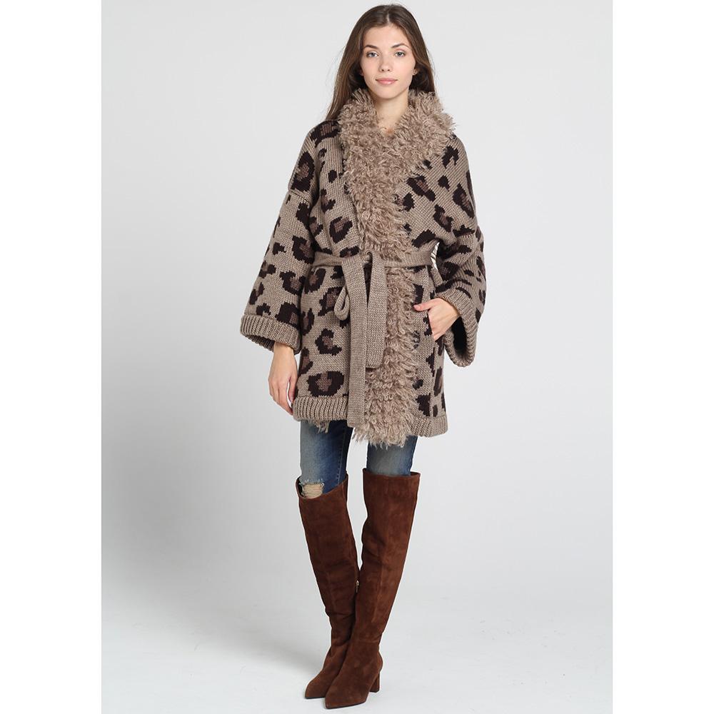 Короткое вязаное пальто Nit.ka коричневого цвета