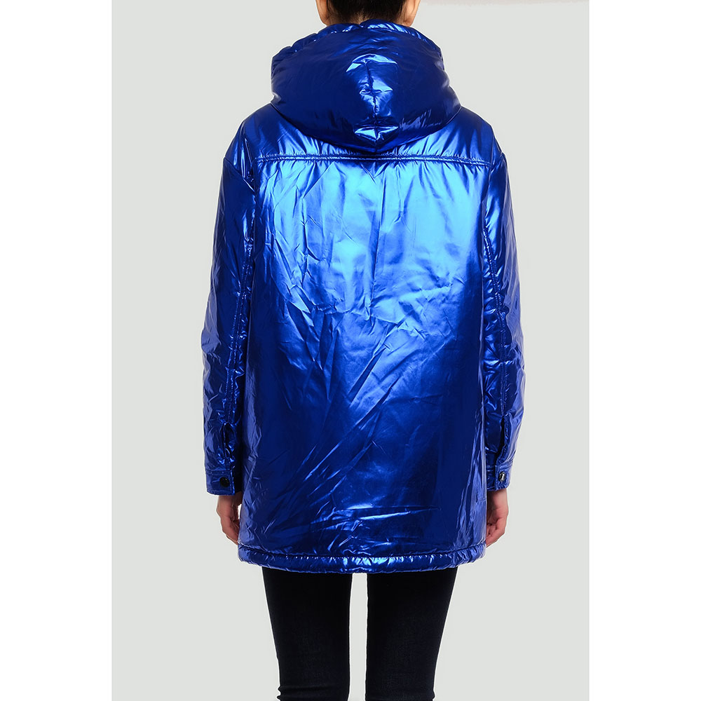 Синяя куртка Love Moschino с металлическим блеском