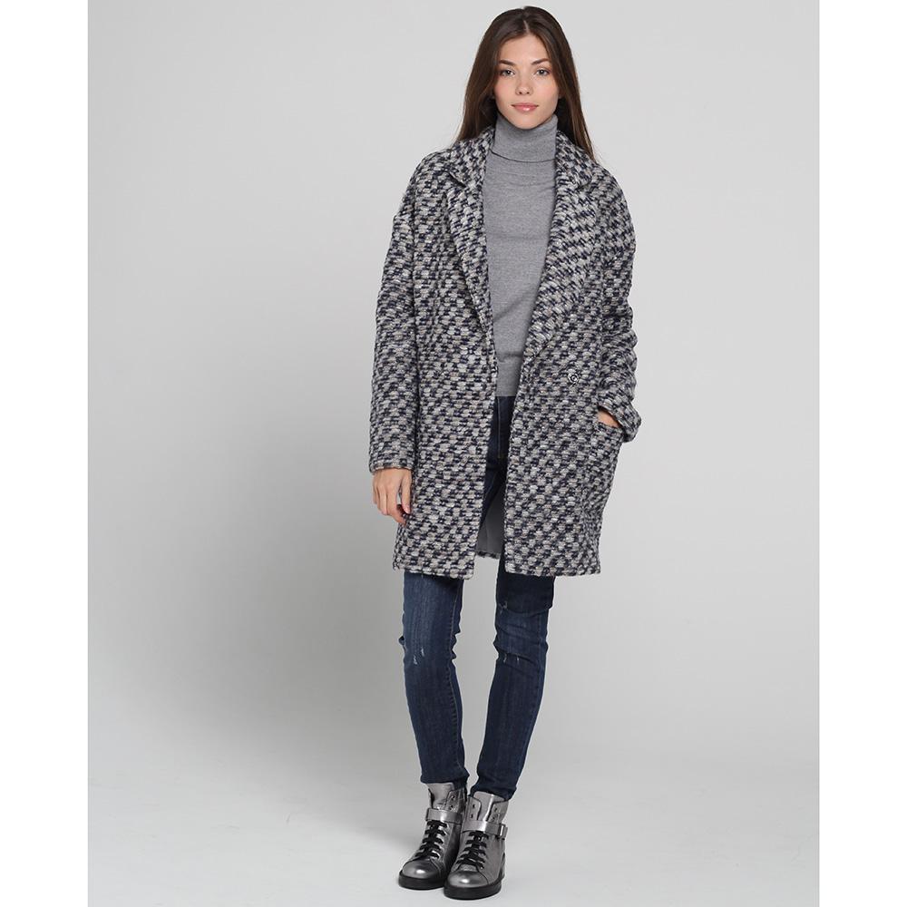 Серое пальто Blugirl Blumarine прямого кроя
