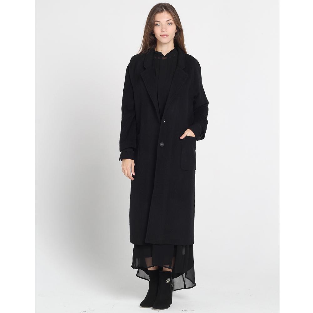 Длинное пальто Blugirl Blumarine с накладными карманами черного цвета