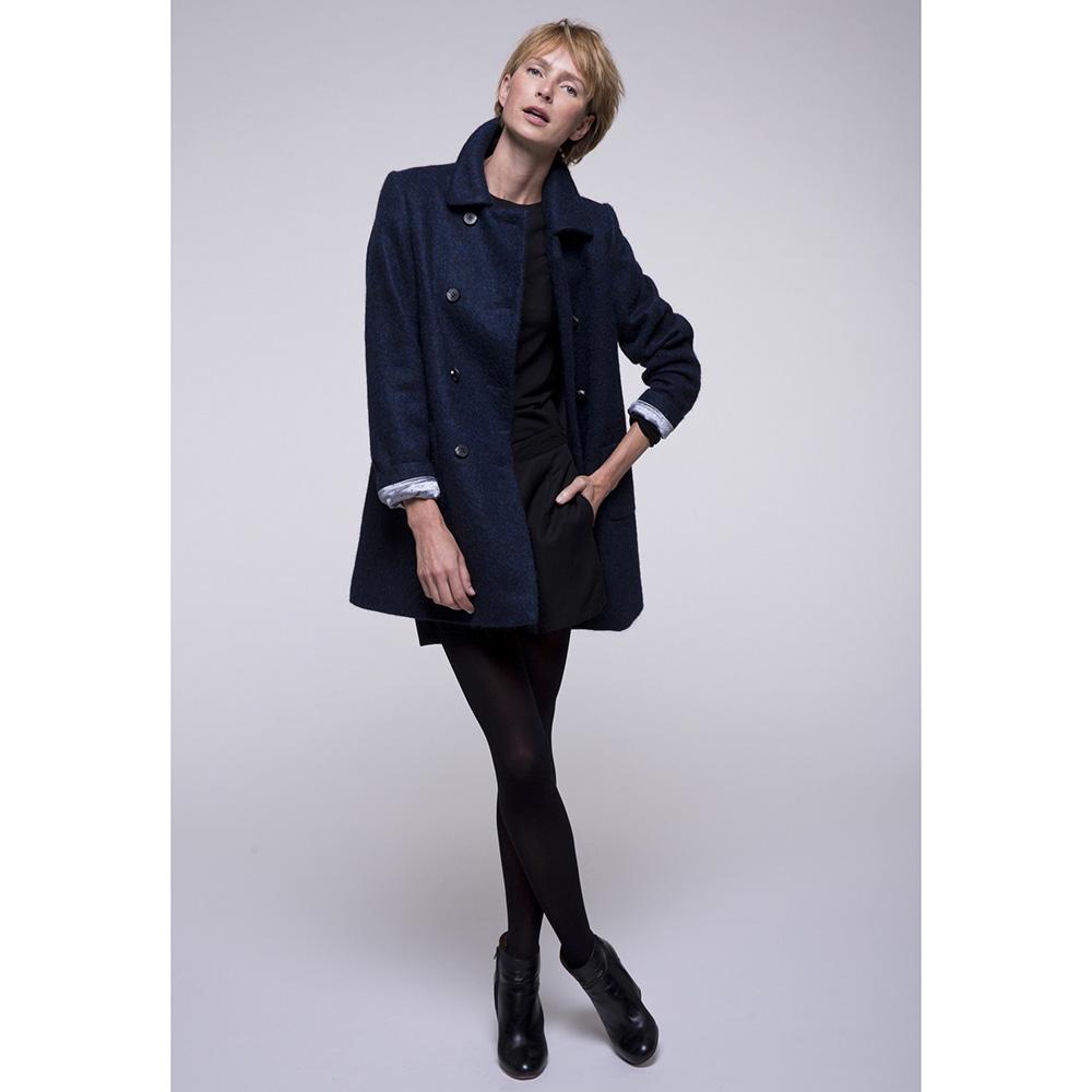 Двубортное пальто Trench & Coat с расширенным силуэтом синего цвета