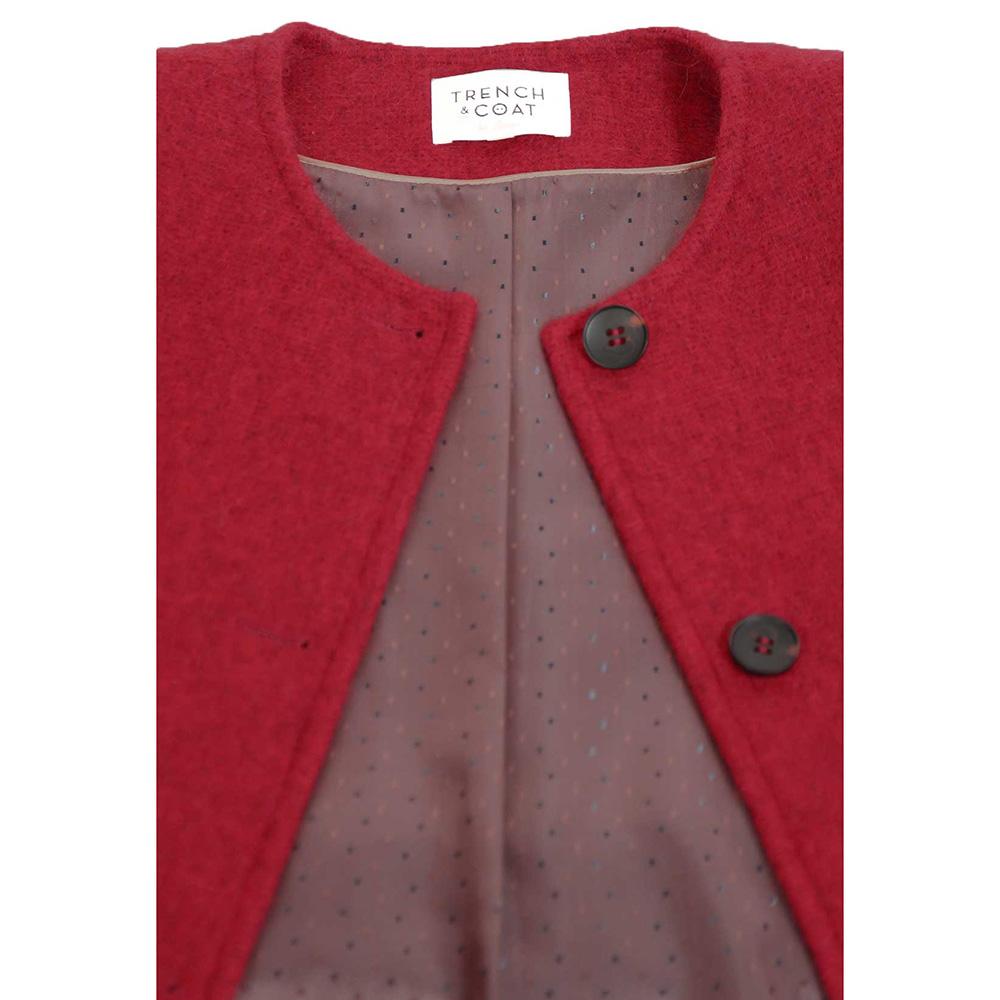 Пальто Trench & Coat прямого силуэта без воротника красного цвета