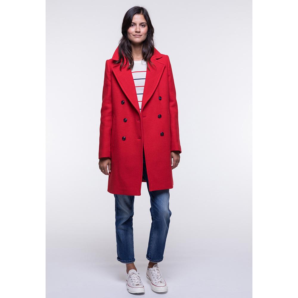 Пальто двубортное Trench & Coat красного цвета
