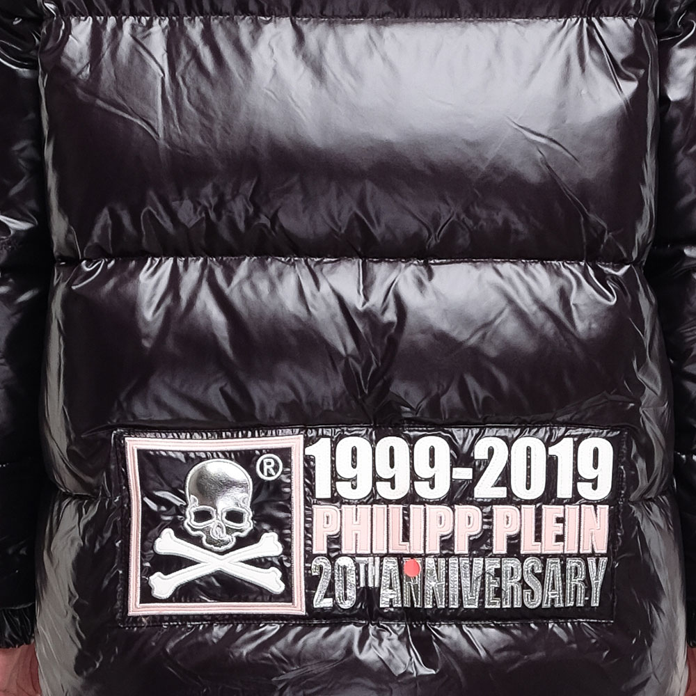 Черная куртка Philipp Plein Anniversary 20th с розовой вставкой